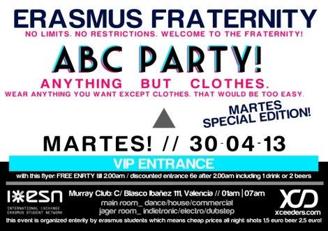 erasmus party miércoles valencia